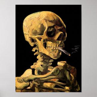 Poster Vincent van Gogh - crâne avec la cigarette