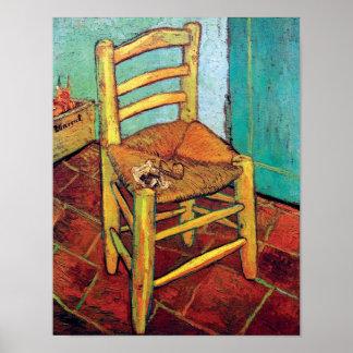Poster Vincent van Gogh - la chaise de Vincent avec le