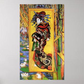Poster Vincent van Gogh - la courtisane - geisha japonais