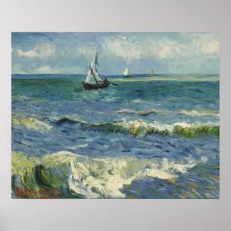 Poster Vincent van Gogh - paysage marin près de Les