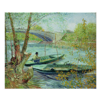 Poster Vincent van Gogh   pêchant au printemps
