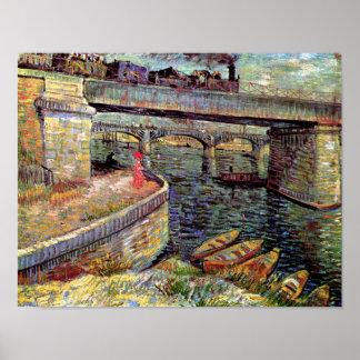 Poster Vincent van Gogh - ponts à travers la Seine