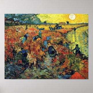 Poster Vincent van Gogh - vignoble rouge à la peinture