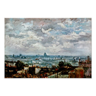 Poster Vincent van Gogh - vue des toits de Paris