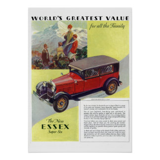 Poster vintage 1923 Superbe-Six d'Essex