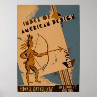 Poster vintage 1938 américain de WPA d'Indien de