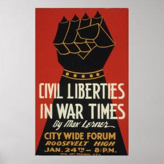 Poster vintage 1940 de WPA de 2ÈME GUERRE MONDIALE