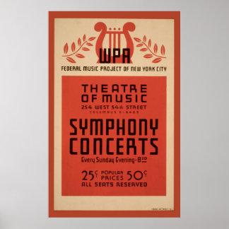 Poster vintage 1940 de WPA de musique de théâtre