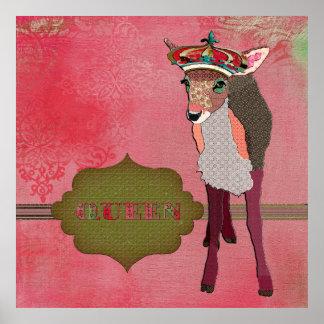 Poster vintage assez rose de faon de la Reine
