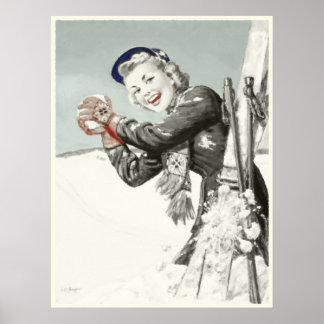 Poster vintage avec la copie de vacances d'hiver posters