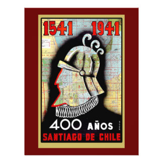 Poster vintage célébrant le Chili Prospectus 21,6 Cm X 24,94 Cm