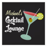 Poster vintage, cocktails en verre de Martini