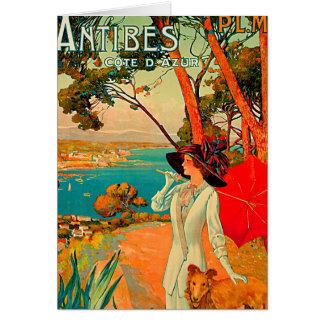Poster vintage d'Antibes France Carte De Vœux