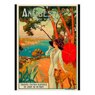 Poster vintage d'Antibes France Carte Postale