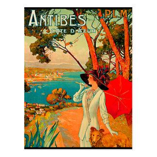 Poster vintage d'Antibes France Cartes Postales
