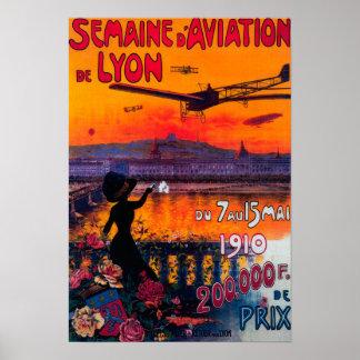 Poster vintage de l'aviation De Lyon de d de Semai Posters