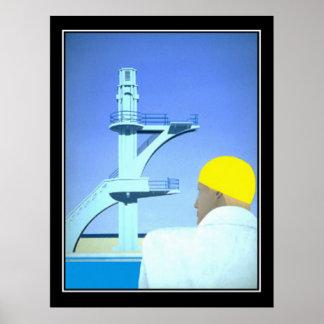 Poster vintage de plongeur de nageur