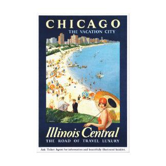 Poster vintage de ville de vacances de Chicago Toile