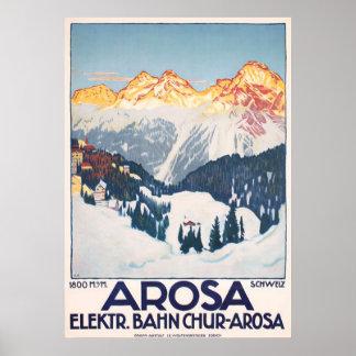 Poster vintage de voyage de la Suisse de montagnes