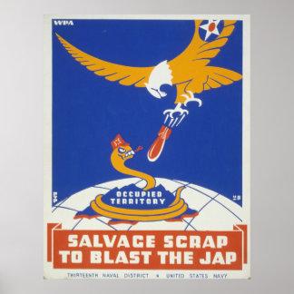 Poster vintage de WPA de récupération de chute Posters