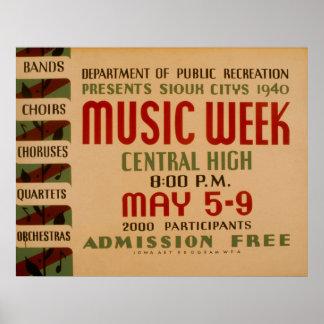 Poster vintage de WPA de semaine de musique Posters