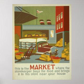 Poster vintage de WPA des marchés d'agriculteurs