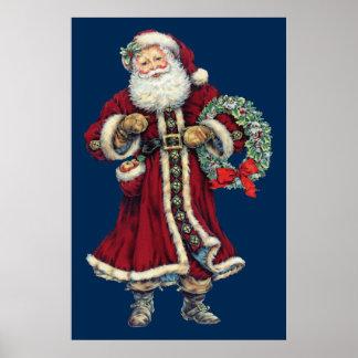 poster vintage debout de père Noël