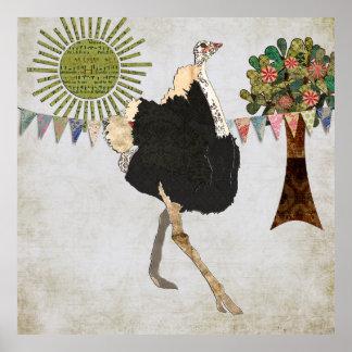 Poster vintage fleuri de blanc de soleil d'autruch