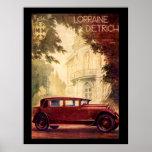 Poster vintage français des années 1920 de voiture