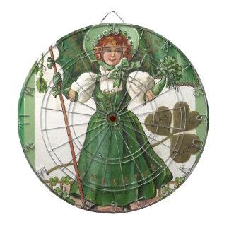 Poster vintage original de dame du jour de patrick jeux de fléchettes
