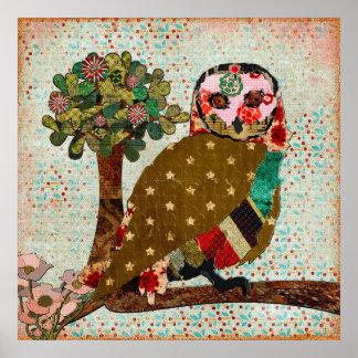 Poster vintage rêveur de jour de hibou rose