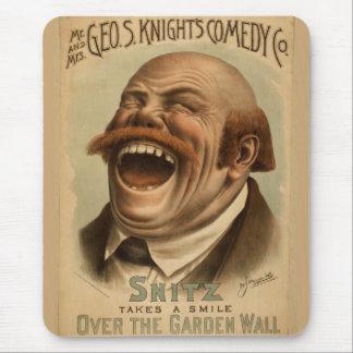 Poster vintage : Snitz au-dessus du mur de jardin Tapis De Souris