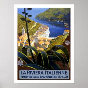 Poster Vintage voyage de la Riviera d'Italien
