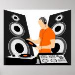 Poster Vinyle de rotation du DJ aux plate-formes