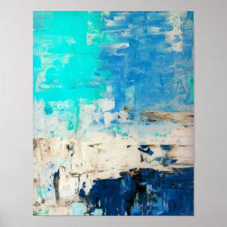 """Poster """"Vis-à-vis"""" de l'art abstrait de turquoise"""