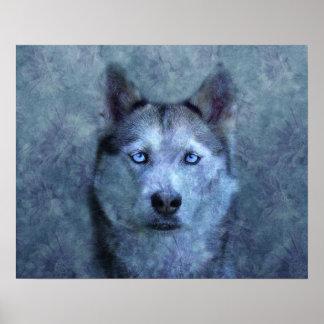 Poster Visage fantomatique bleu de loup
