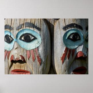 Poster Visages d'un totem Polonais, Alaska