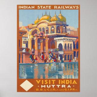 Poster Visite vintage Inde Muttra par voyage de Roger