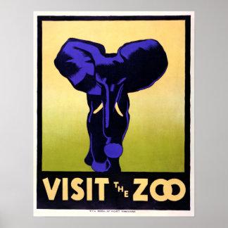 Poster Visite vintage l'éléphant de zoo