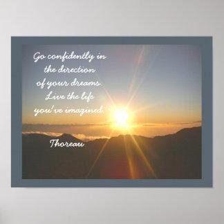 Poster Vivent la vie -- Citation de Thoreau - copie d'art