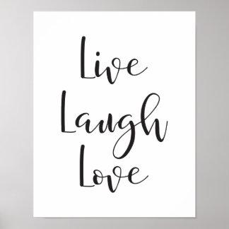 Poster Vivent l'amour de rire, copie de motivation et