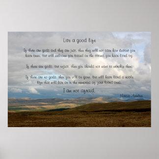 Poster Vivent une bonne vie - Marcus Aurelius