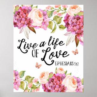 Poster Vivent une vie d'illustration de citation