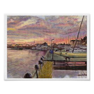 Poster Voiliers au coucher du soleil le long du fleuve