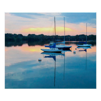 Poster Voiliers dans la marina au lever de soleil