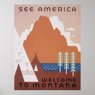 Poster Voir l'accueil de l'Amérique au Montana, voyage