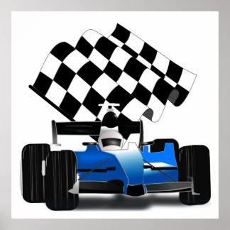 Poster Voiture de course bleue avec le drapeau Checkered