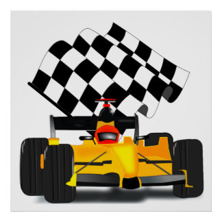 Poster Voiture de course jaune avec le drapeau Checkered