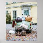 Poster Voiture vintage avec un bon nombre de bagage