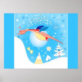 Poster Vol de dragon d'hiver par des flocons de neige